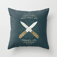 nietzsche Throw Pillows featuring That which does not kill us makes us stronger by Beardy Graphics