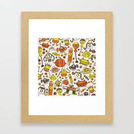 Monster Halloween Candy Bots in Orange, Yellow, Black, & Gray  // Fall Holiday Themed Candy Robots Framed Art Print