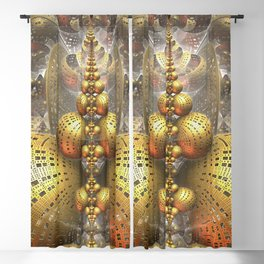 Gold Fractals Blackout Curtain