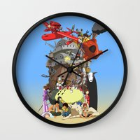 calcifer Wall Clocks featuring Studio of Dreams by CromMorc