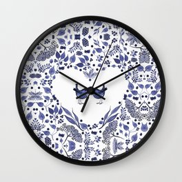 BLUE BIRDS WATERCOLOR - THE GIFT - INDIGO Wall Clock