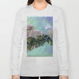 White flower on blue sky Long Sleeve T-shirt