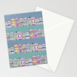 Little town in winter Stationery Cards