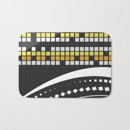 Abstract Crossword Puzzle Squares on Black Bath Mat