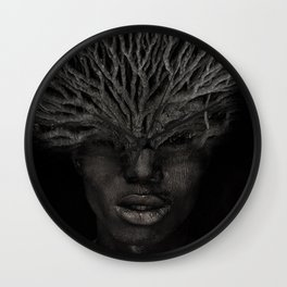 Tree man. Double exposure portrait by T.Amrein Wall Clock