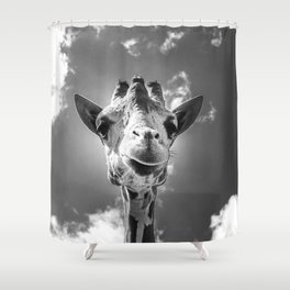 Cool Giraffe Black and White Shower Curtain