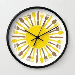 circular sun cultery design Wall Clock
