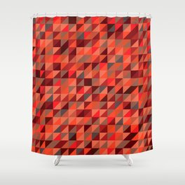 Quilted Reds / Retro Triangles Shower Curtain