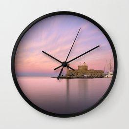 Mandraki harbour of Rhodes Wall Clock