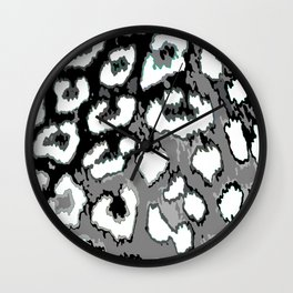 Black and White Leopard Spots Wall Clock
