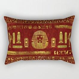Golden Egyptian Sphinx on red leather Rectangular Pillow