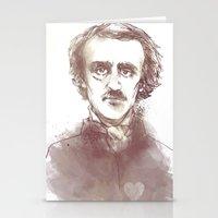 edgar allen poe Stationery Cards featuring Edgar Allen Poe by Andrew Brennan
