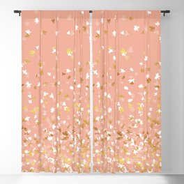 Floating Confetti - Peach and Gold Blackout Curtain