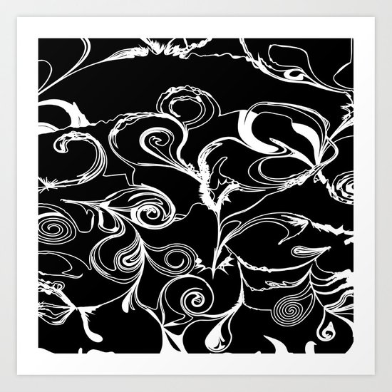 Black And White Scribbles Art Print