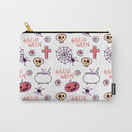 Happy halloween skulls, pumpkins, spiders, pors and eyes Carry-All Pouch