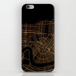 Black and gold New Orleans map iPhone Skin