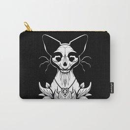 Sphynx Skull - Black and White Cat Flower Dark Art Carry-All Pouch