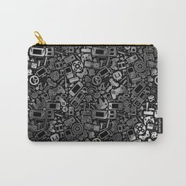Video Gamer Pattern Black, White and Grit Carry-All Pouch