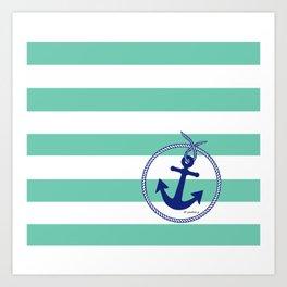 Aqua Stripes Navy Anchor Art Print