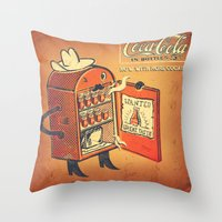 cocaine Throw Pillows featuring Cocaine Cola by TheNazzaro