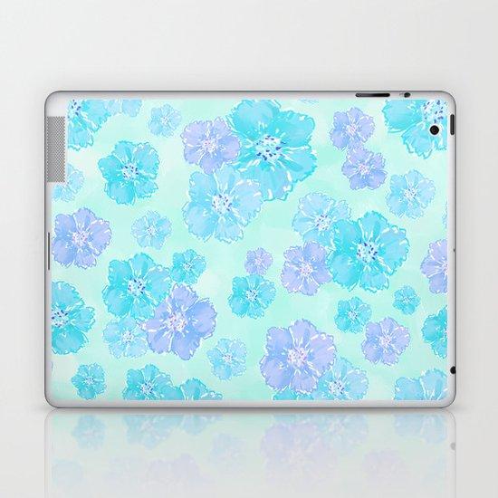 Blossoms Aqua Blue Mint Laptop & iPad Skin