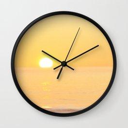 Peachy sunrise seascape Wall Clock