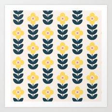 Vintage geometric flowers Art Print