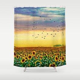 Golden Sunflower Field | Painting Shower Curtain
