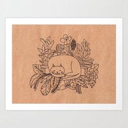 Cat asleep in the garden Art Print