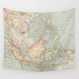 Vintage Map of Indonesia and The Philippine Ports (1905) Wall Tapestry