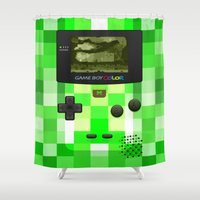 gameboy Shower Curtains featuring Gameboy Color Green Creeper by Veylow