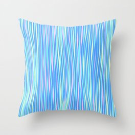 Colorful stripes over blue Throw Pillow