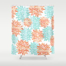 aqua and coral flowers Shower Curtain
