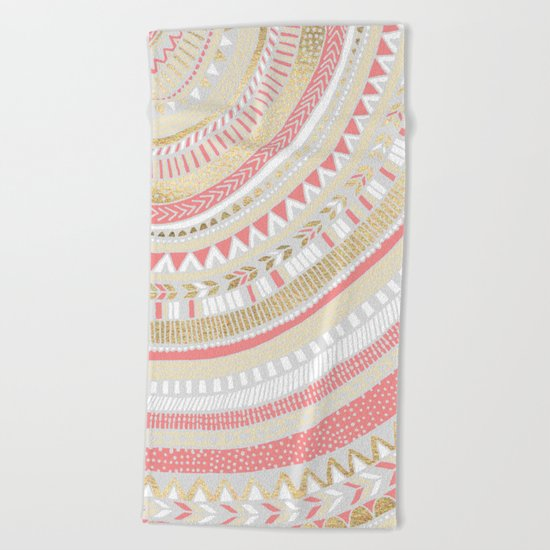 Coral + Gold Tribal Beach Towel