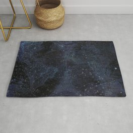 Antique World Star Map Navy Blue Rug