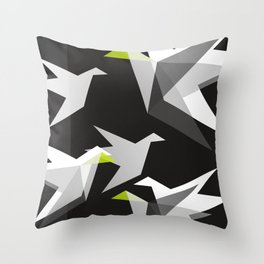 Black and White Paper Cranes Throw Pillow