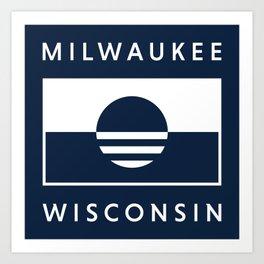 Milwaukee Wisconsin - Navy - People's Flag of Milwaukee Art Print