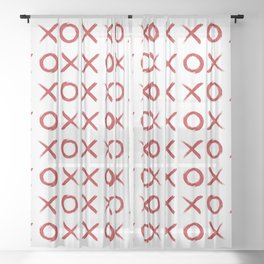 kisses and hugs // red on white Sheer Curtain