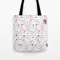 8bit Tote Bags featuring 8bit Love by Elisa Sassi
