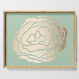 Rose White Gold Sands on Pastel Green Cactus Serving Tray