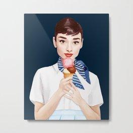Audrey Hepburn Eating Ice Cream - Navy Metal Print