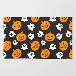 Happy halloween pumkins and ghosts pattern Rug