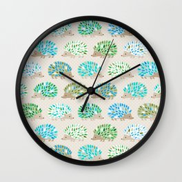 Hedgehog polkadot in green and blue Wall Clock