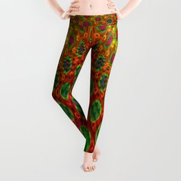 Fractal Descent #2 - Geometric Optical Illusion Psychedelic Void Trippy Colorful Design Leggings