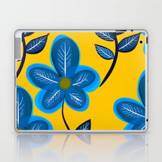 Blue Flowers and Yellow Pattern Laptop & iPad Skin