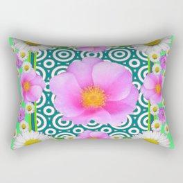 Teal Green Color Art Fuchsia Daisy Pink Roses Patterns Rectangular Pillow