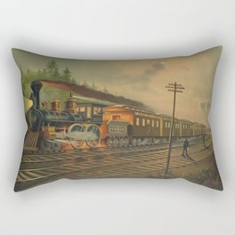 Night Scene on the NY Central Railroad (Currier & Ives) Rectangular Pillow