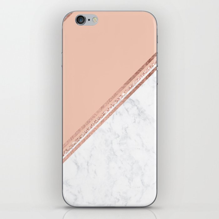 Modern stylish rose gold glitter geometric stripes blush pink white marble color block iPhone Skin