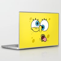 spongebob Laptop & iPad Skins featuring Spongebob Crazy Face by Cute Cute Cute