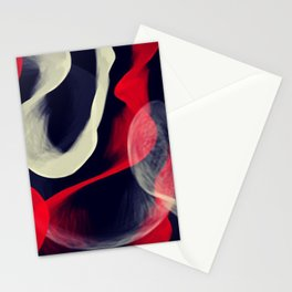 Waves in Red, Grey and White Stationery Cards